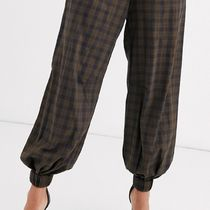 ASOS Printed Pants Gingham Glen Patterns Casual Style Cotton Long