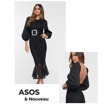 ASOS Crew Neck Tight A-line Chiffon Silk Blended Fabrics