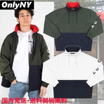ONLY NY Stand Collar Coats Unisex Street Style Bi-color Plain