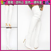 DOLLS KILL Casual Style Plain Pin Heels Over-the-Knee Boots