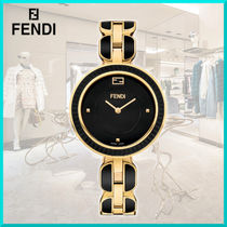 FENDI Casual Style Round Party Style Jewelry Watches Ceramic