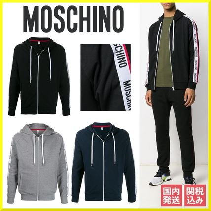 Moschino Hoodies Long Sleeves Cotton Logos on the Sleeves Hoodies