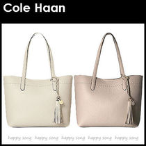 Cole Haan Tassel A4 Plain Leather Office Style Elegant Style Totes