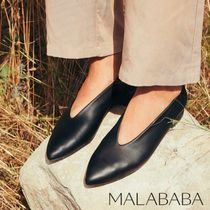 Malababa Casual Style Plain Leather Handmade Office Style Flats