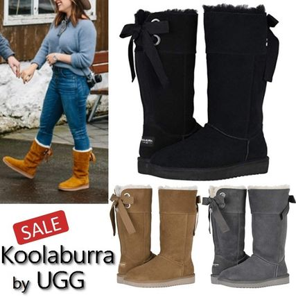 Casual Style Suede Fur Blended Fabrics Plain Flat Boots
