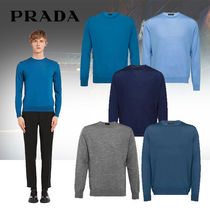PRADA Crew Neck Cable Knit Pullovers Wool Long Sleeves Plain