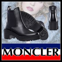 MONCLER Rubber Sole Casual Style Plain Leather Block Heels
