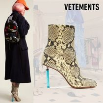 VETEMENTS Leather Python Ankle & Booties Boots