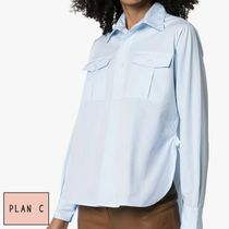Plan C Casual Style Long Sleeves Plain Cotton Shirts & Blouses