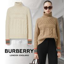Burberry Cable Knit Stripes Casual Style Cashmere Long Sleeves Plain