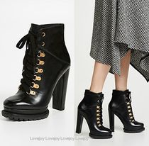 Alice+Olivia Round Toe Rubber Sole Lace-up Casual Style Plain Leather