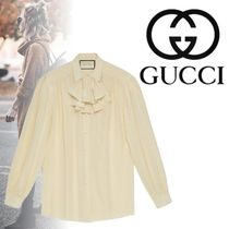 GUCCI Casual Style Silk Long Sleeves Plain Elegant Style