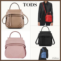 TOD'S Casual Style Plain Leather Office Style Backpacks