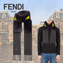 FENDI BAG BUGS Cashmere Silk Plain Fringes Scarves