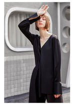 Cable Knit Casual Style Chiffon Silk Long Sleeves Plain