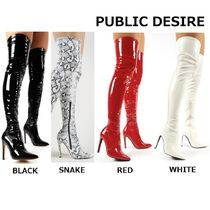 PUBLIC DESIRE Plain Over-the-Knee Boots