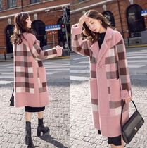 Gingham Casual Style Wool Medium Long Midi Office Style