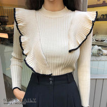 Casual Style Rib Long Sleeves Medium High-Neck Sweaters