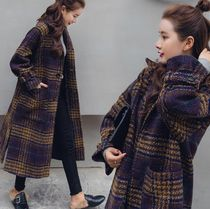 Stand Collar Coats Tartan Other Check Patterns Casual Style