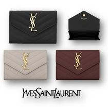 Saint Laurent Calfskin Plain Coin Purses