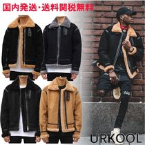 URKOOL Stand Collar Coats Unisex Suede Faux Fur Blended Fabrics