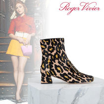 Roger Vivier Leopard Patterns Leather Ankle & Booties Boots