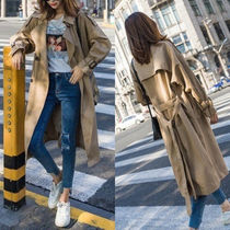Stand Collar Coats Casual Style Plain Medium Long