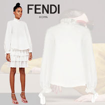 FENDI Casual Style Long Sleeves Plain Cotton Office Style