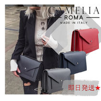 CAMELIA ROMA Casual Style Chain Plain Leather Elegant Style Shoulder Bags