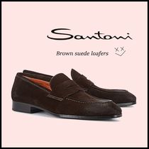 SANTONI Loafers Suede Street Style Plain Loafers & Slip-ons