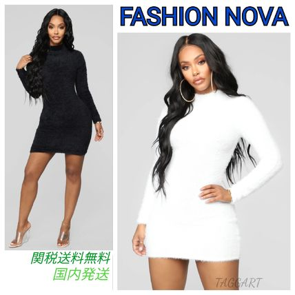 Short Casual Style Tight Long Sleeves Plain Dresses