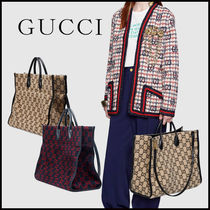 GUCCI Monogram Unisex A4 2WAY Leather Crossbody Logo Totes