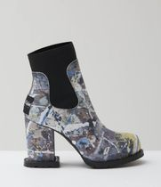 sacai Casual Style Leather Block Heels Ankle & Booties Boots