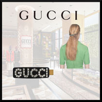 GUCCI Barettes Casual Style Studded Office Style Elegant Style