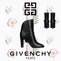 GIVENCHY Plain Leather Chunky Heels Ankle & Booties Boots