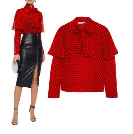 Dots Silk Long Sleeves Medium Party Style Office Style