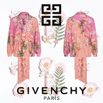 GIVENCHY Flower Patterns Silk Long Sleeves Elegant Style