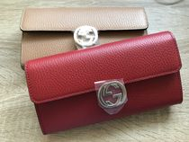 GUCCI GG Marmont Blended Fabrics Plain Leather Long Wallets