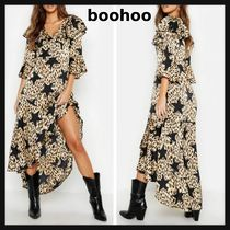 boohoo Star Leopard Patterns Casual Style Maxi Flared V-Neck