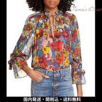 Alice+Olivia Short Flower Patterns Casual Style Chiffon Puffed Sleeves