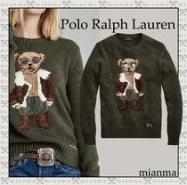 Ralph Lauren Crew Neck Wool Cashmere Long Sleeves Other Animal Patterns