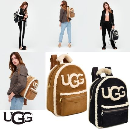 Casual Style Suede Logo Backpacks
