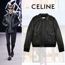CELINE Street Style Leather Shearling Biker Jackets
