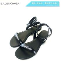 BALENCIAGA Leather Slippers Logo Sandals Sandal