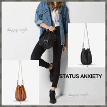 STATUS ANXIETY Casual Style Plain Leather Purses Shoulder Bags