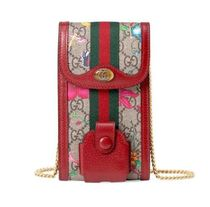 GUCCI Ophidia Flower Patterns Blended Fabrics Chain Leather Bold iPhone 8