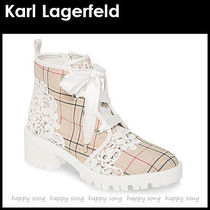 Karl Lagerfeld Glen Patterns Round Toe Lace-up Casual Style Block Heels