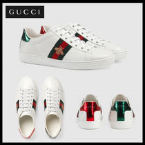 GUCCI Ace Casual Style Street Style Leather Low-Top Sneakers