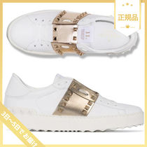 VALENTINO Studded Leather Metallic Low-Top Sneakers