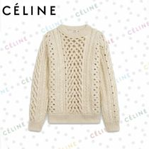 CELINE Cable Knit Wool Cashmere Blended Fabrics Long Sleeves Plain